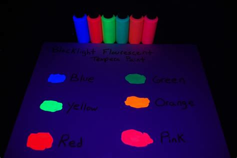 6 pack 2oz assorted blacklight reactive fluorescent tempera paint ebay