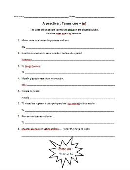 Ir A Infinitive Worksheet Answers tener que infinitive worksheet expressions with