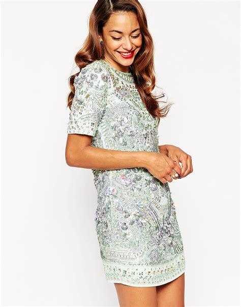 Dress Of The Day Embellish Shift Dress by Asos Carpet Premium Embellished Show Tank Shift Dress