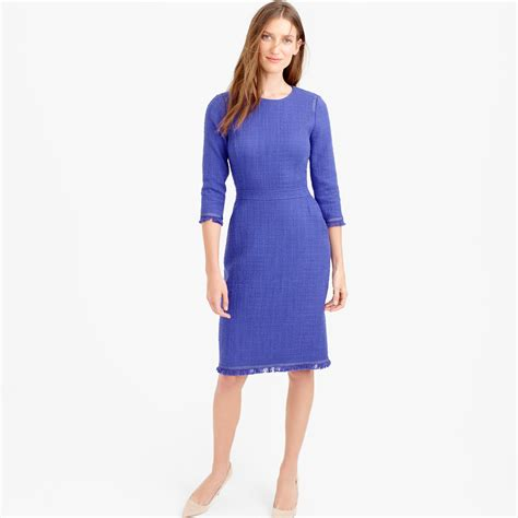 Caterpillar Revo High Black j crew sleeve tweed dress with fringe in blue