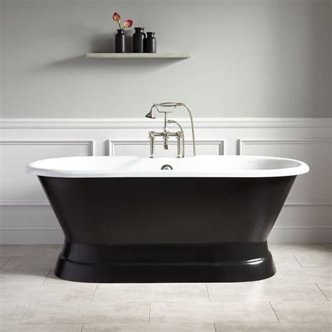 black bathtubs 66 quot henley cast iron double ended pedestal tub 7 quot rim