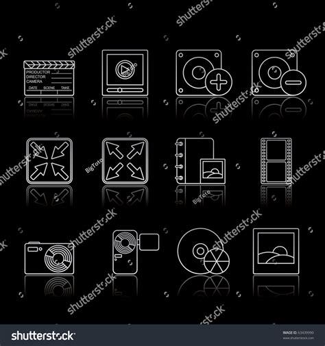 eps format edit multimedia icon set 5 strokes black series vector eps 8