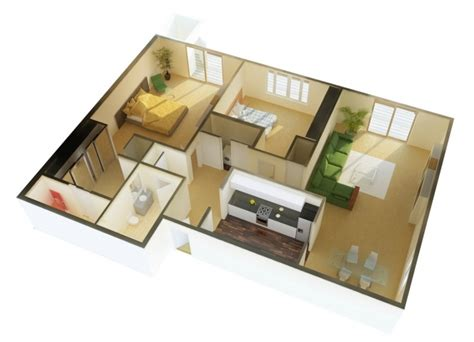 2 bhk home design image 50 plans 3d d appartement avec 2 chambres