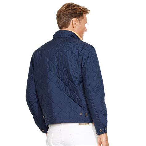 Vest Zipper Navy Polos lyst ralph quilted zip jacket in blue for