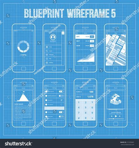 blueprint app free blueprint wireframe mobile app ui kit stock vector