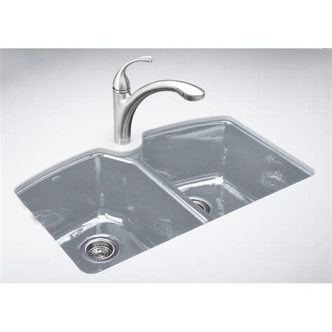 Enameled Cast Iron Kitchen Sinks Shop Kohler Tanager Basin Undermount Enameled Cast Iron Kitchen Sink At Lowes