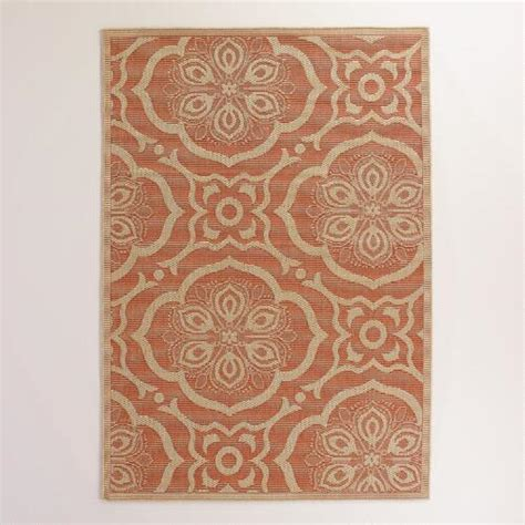 Orange Outdoor Rugs by 5 X7 Orange Bungalow Tiles Indoor Outdoor Rug World Market
