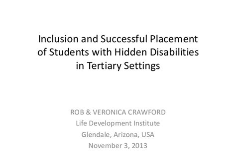 successful teaching placement in 1844451712 inclusion and successful placement of students with hidden disabiliti
