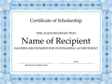 scholarship certificate template certificate of scholarship formal blue border office