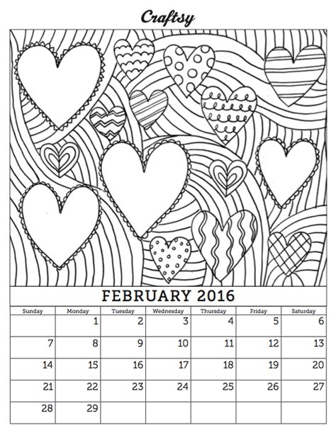 free coloring pages of february 2015 calendar