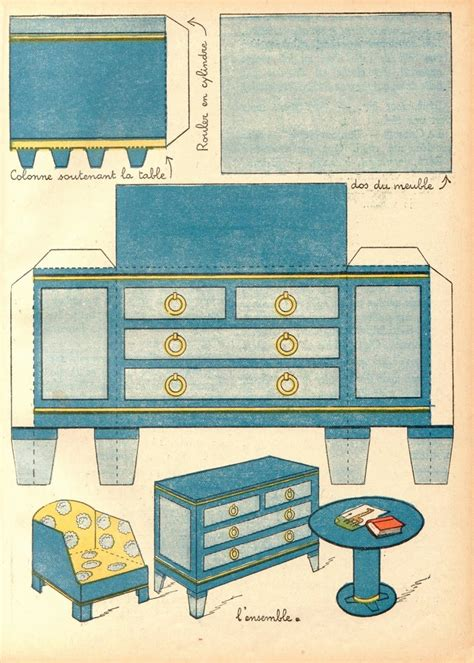 Furniture Papercraft - 3d paper doll furniture toys templates a collection of