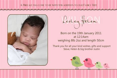 birth announcements for with bird family