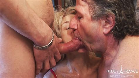 Amateur Bi Sexual French Older Couple Sharing A Cock And