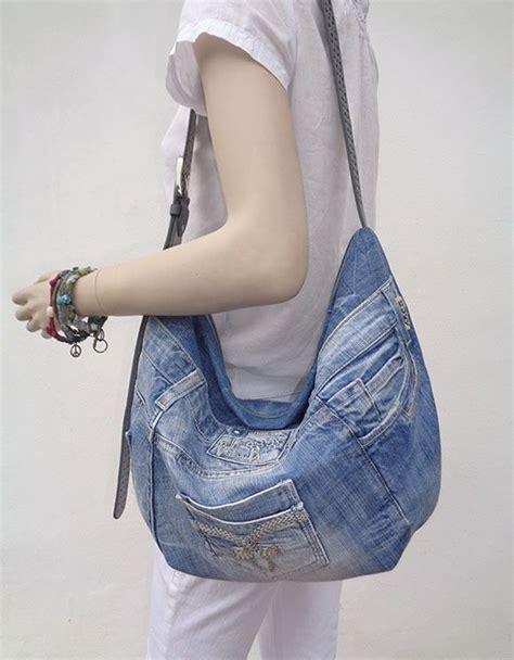 jeans handbag pattern denim bag slouchy hobo purse cross body summer recycled