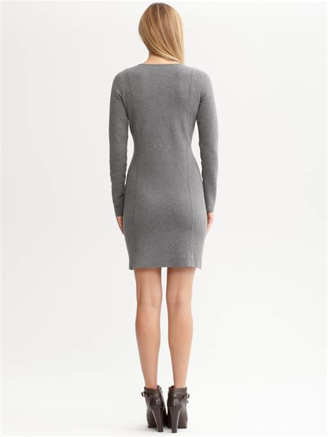 Banana Grey Dress banana republic v neck sweater dress in gray gracious