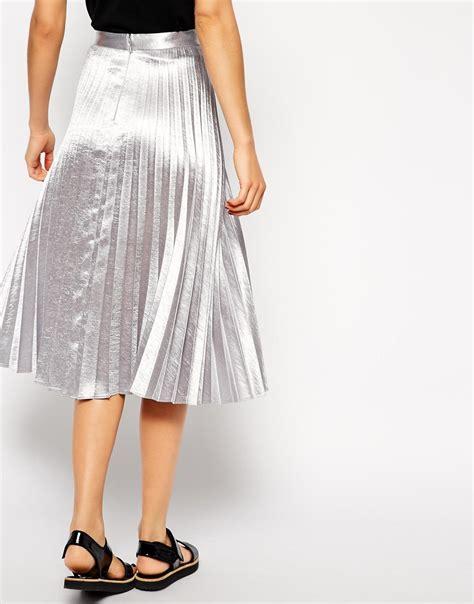 asos pleated midi skirt in metallic at asos
