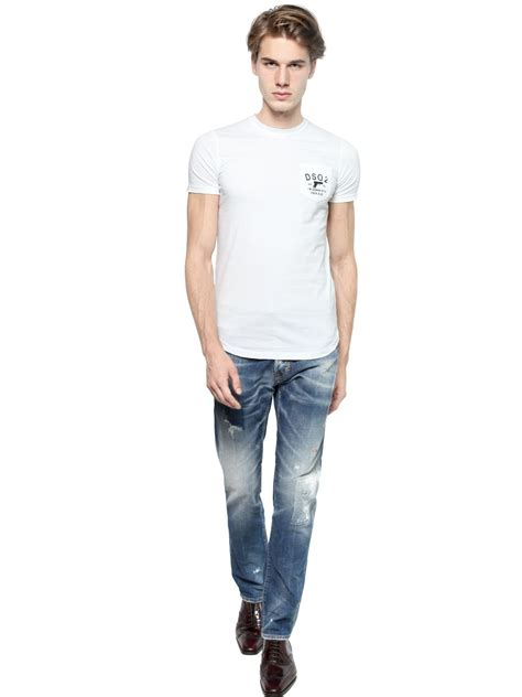J006 Ripped Denim Washed Fade Blue lyst dsquared 178 16 5cm cool faded washed denim in blue for