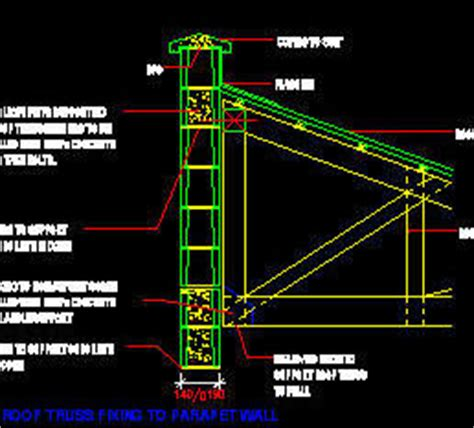 anchoring roof to parapet walls cad details bricks blocks roof truss fixing details