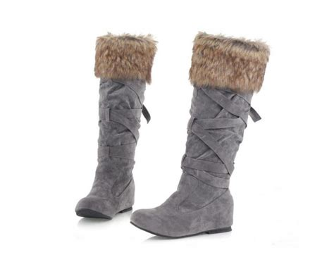 knee high fur suede wedge boots