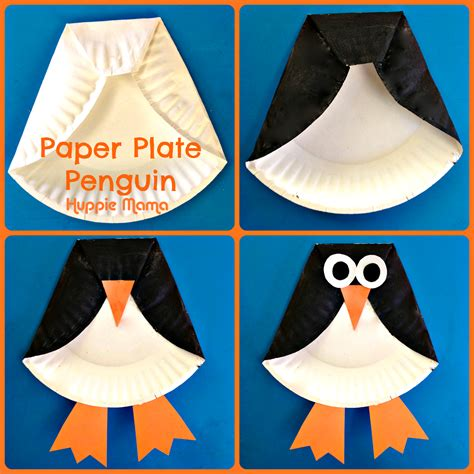 Penguin Paper Craft - paper plate penguin craft template quotes
