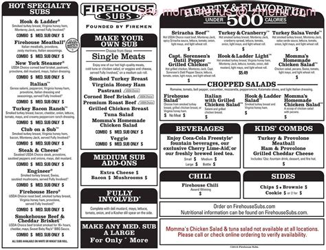 Submarine House Menu by Menu Of Firehouse Subs Restaurant Tupelo Mississippi 38801 Zmenu
