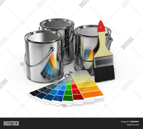 pantone paint cans paint cans with brush and pantone color guide stock photo