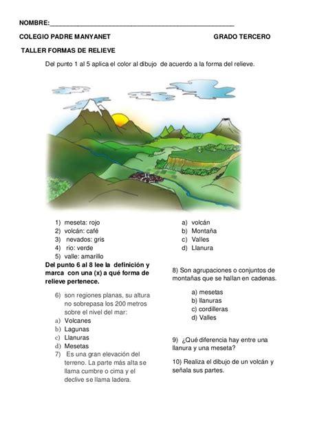 preguntas basicas de geografia colombiana taller relieve