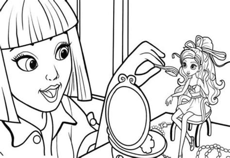 barbie makeup coloring pages vanessa doing make up on barbie thumbelina coloring pages
