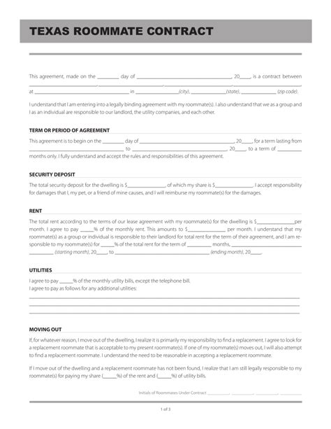 Free Texas Roommate Agreement Template Pdf Eforms Free Fillable Forms Roommate Agreement Template