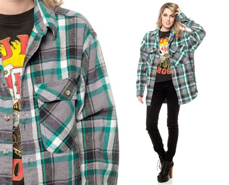 Oversized Flannel oversized flannel shirt 90s teal green plaid grunge lumberjack
