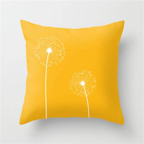 yellow cusion yellow dandelion cushion with insert free uk shipping