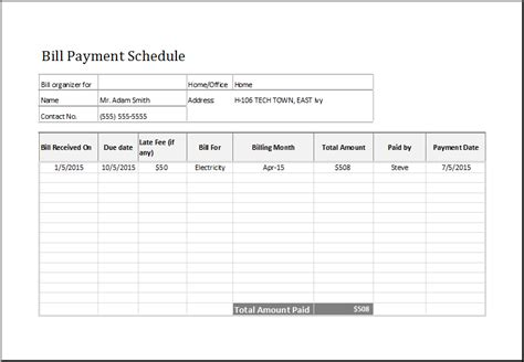 Bill Payment Record Template by Bill Payment Schedule Template At Http Www Xltemplates