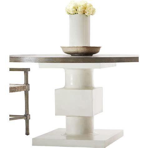 Rustic White Dining Table Leonara Coastal White Pedestal Rustic Wood Dining Table Kathy Kuo Home