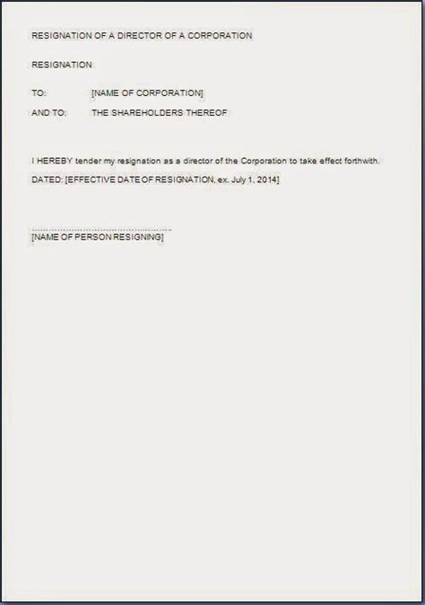 director letter of resignation director resignation letter format in word