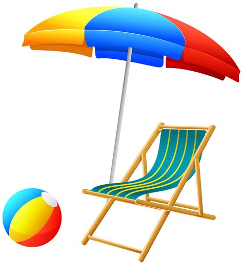 Beach Umbrella with Chair and Ball PNG Clip Art   Best WEB