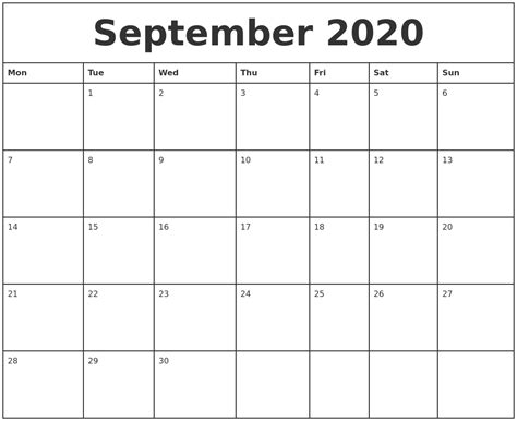 printable monthly calendar starting on monday september 2020 printable monthly calendar
