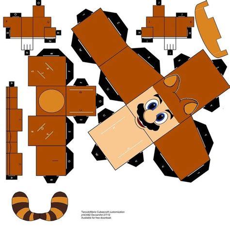 Papercraft Cubeecraft - i customized a cubeecraft mario into a tanooki mario i