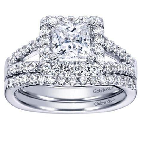 princess cut halo split shank engagement ring
