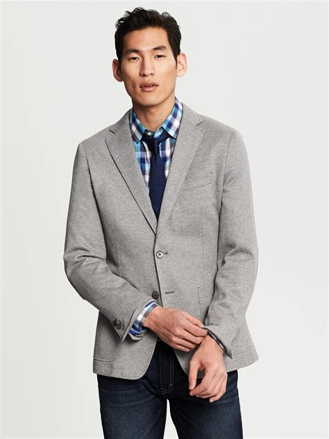 grey knit blazer banana republic tailored fit grey knit blazer in gray for