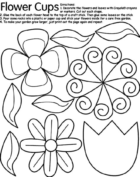 crayola coloring pages flowers flower cups coloring page crayola com