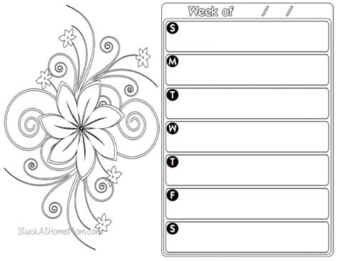 coloring book planner free weekly planner color page 2 printout calendar