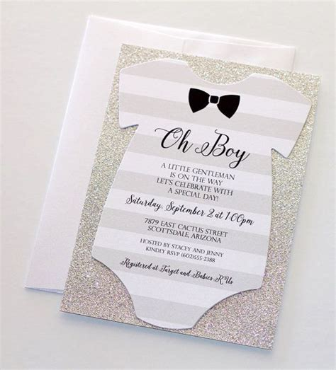 Onesie Baby Shower by Baby Shower Onesie Invitation Glitter Shower Invitation