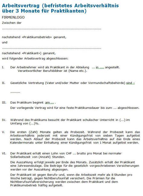 Vorlage Praktikumsvertrag Schweiz Praktikumsvertrag Vorlage Zum