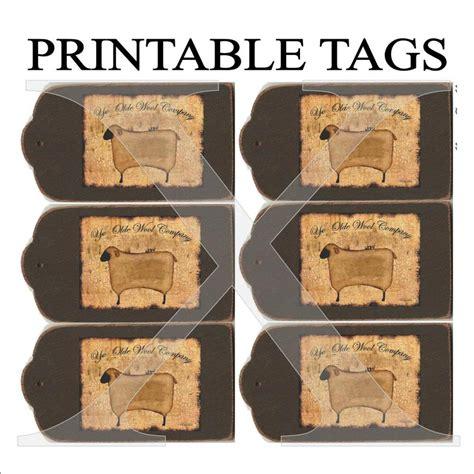 printable primitive labels primitive tags printable 6 per sheet digital sheep folk art