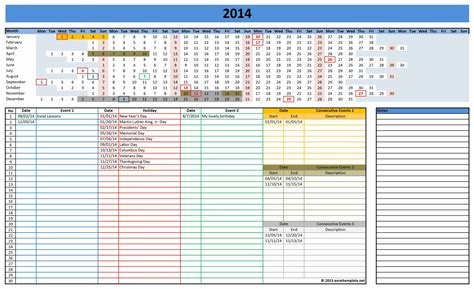 Calendar Template On Excel 2014 calendar excel templates