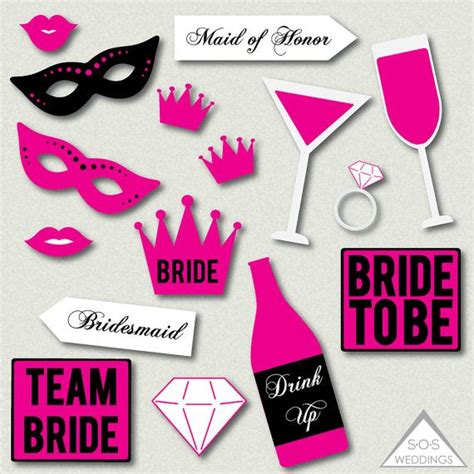 printable photo booth props wedding hot pink bachelorette photo booth signs bridal shower