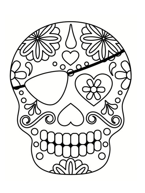 Coloriage T 234 Te De Mort Mexicaine 20 Dessins 224 Imprimer Tete De Mort En Sucre Mexicaine A Colorier L
