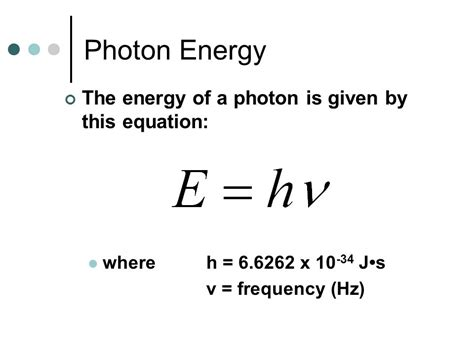 Light Energy Equation Light Photon Energies And Atomic Spectra Ppt