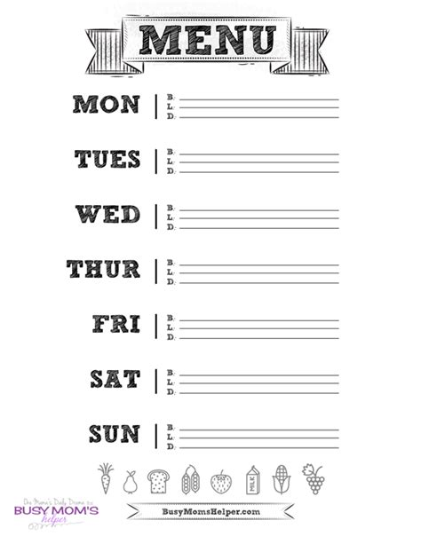 printable busy mom planner printable menu planner busy moms helper