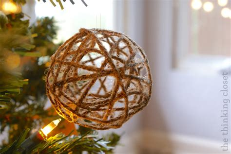 glitter twine ball ornament tutorial the thinking closet